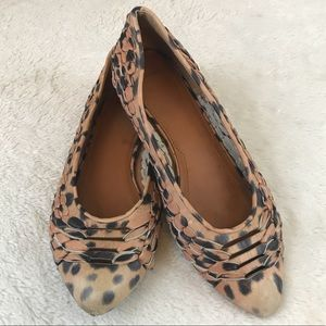 GIVENCHY Leopard Print Woven Leather Flats 38.5